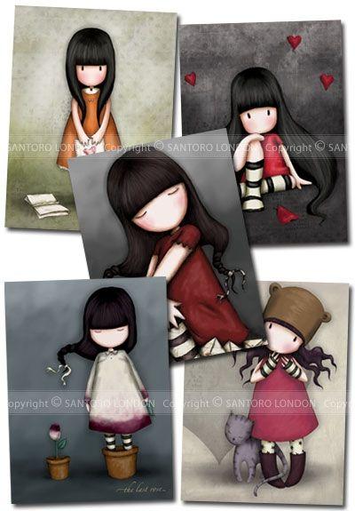Gorjuss Cards Set 3 - Series 3 - Set of greetings cards featuring the girls from the Santoro Gorjuss range.