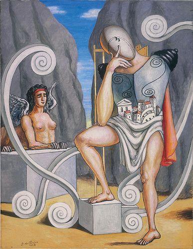 Oedipus and the Sphinx 1968 - GIORGIO DE CHIRICO (Vòlo, 10 luglio 1888 – Roma, 20 novembre 1978) #TuscanyAgriturismoGiratola: