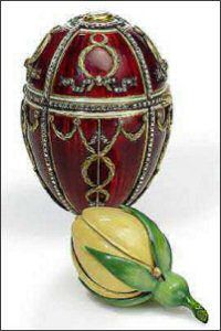 Fabergé Rosebud Egg, 1895, presented by Nicholas II to Alexandra Feodorovna.  The bud originally contained two surprises: a miniature replica of the Imperial crown, representing Alexandra's new life as the Empress of Russia, and a ruby Egg pendant hanging within it.