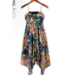 Asymmetric Floral Dress Blue / Rs.1430