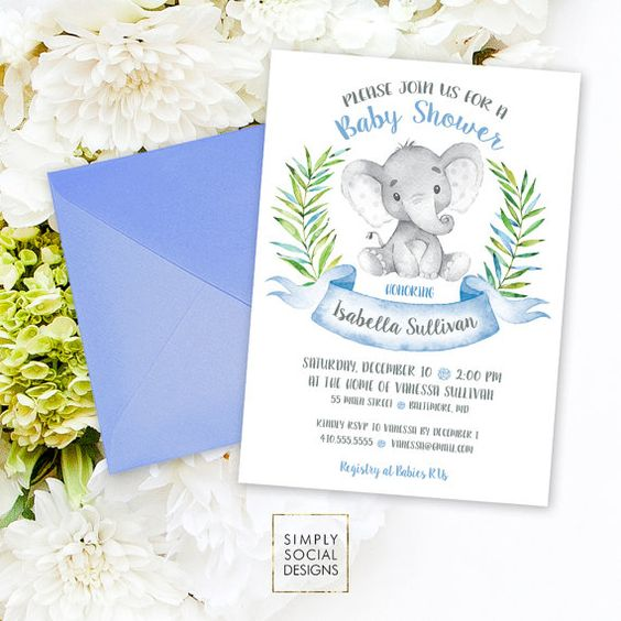 Elephant Baby Shower Invitation - Blue Boho Elephant It's A Boy Jungle Leaves Baby Shower Invitation Watercolor Calligraphy Printable