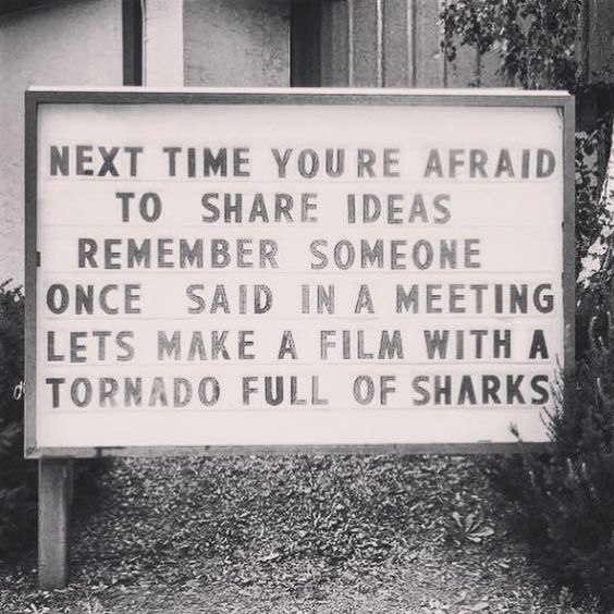 """Next time you're afraid to share your ideas, remember someone once said in a meeting, """"let's make a film with a tornado full of sharks."""""""