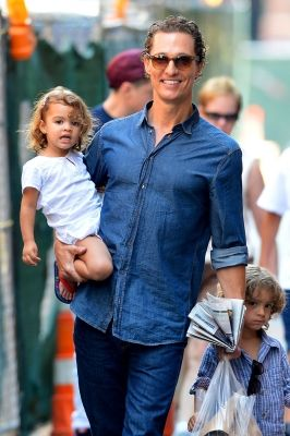 Matthew McConaughey is spotted with his kids, Levi and Vida, in New York City on August 26, 2012