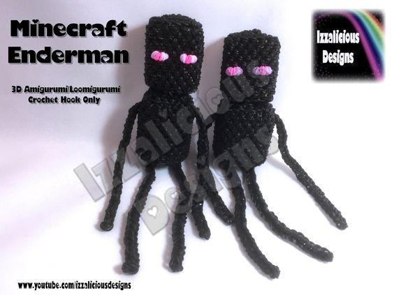 Rainbow Loom 3D Minecraft Enderman Amigurumi/Loomigurumi Doll Crochet Ho...