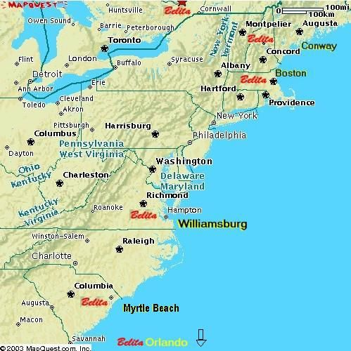 Map Of Eastern Seaboard United States