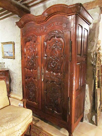 fine french louis xv period armoire in solid carved. Black Bedroom Furniture Sets. Home Design Ideas