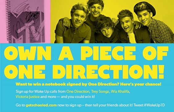 (Share with students) Want to win a notebook signed by One Direction? Here's your chance!  Sign up for Wake Up calls from One Direction, Trey Songz, Wiz Khalifa, Victoria Justice and more - and you could win!