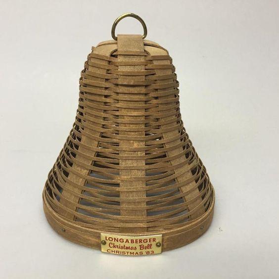Longaberger 1983 Christmas Bell Basket Red Metal Tag Left Handed Signed