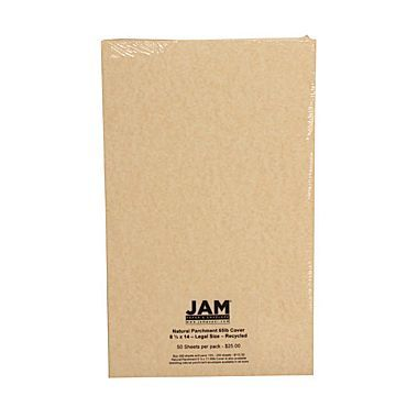 JAM Paper® 65 lb. 8 1/2in. x 14in. Legal Cover Cardstock, Natural Parchment, 50 Sheets/Pack