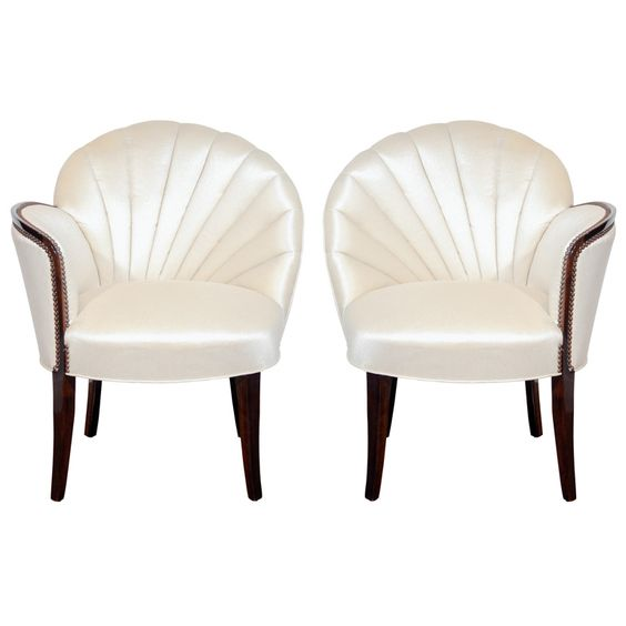 pair of glamorous hollywood channel tufted shell back chairs channel tufted furniture