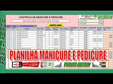 Planilha Controle De Manicure E Pedicure Servicos Contas A