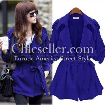 ChicSeller Long Sleeve Lapel Blue Belt Trench Coat