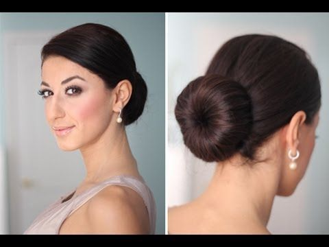 How to: Perfect Low Bun. I do this hairstyle using a rolled up sock with the toe cut off. So cute and easy!