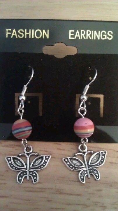 Rainbow Turkey Stripe Butterfly Earrings