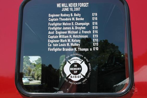 The Names Of Nine Courageous Firefighters