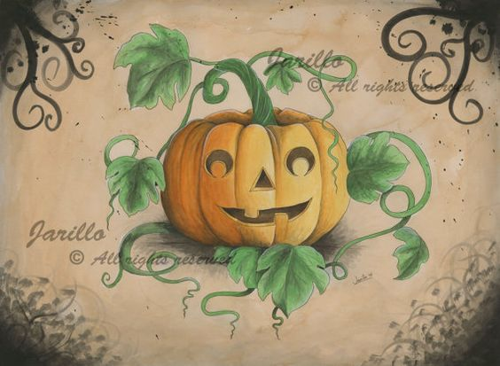 Halloween  Lámina Impresa  Acuarela y Tinta  por JarilloArtCraft