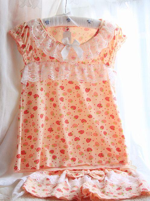 糖心家 日系夏季女士短袖睡衣甜草莓可爱蝴蝶结蕾丝边家居服套装-淘宝网
