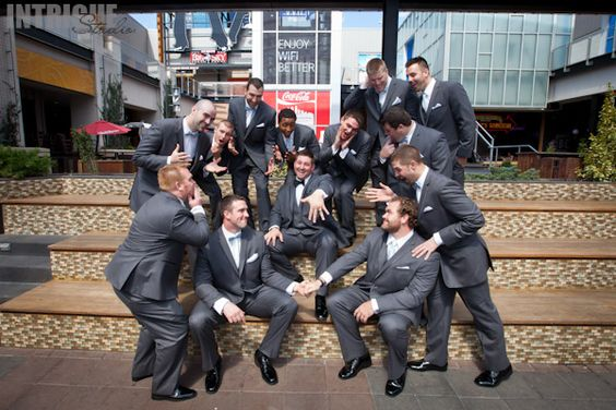 Groomsmen doing what they do best - being silly!!  This is another fun wedding party keeper!  Photography by: Intrigue Studio www.Intrigue-Photography.com
