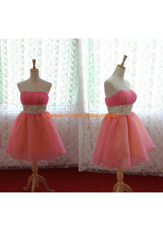 Custom Made Schulterfrei Rosa Organza Mini Kurze Abendkleider 2013