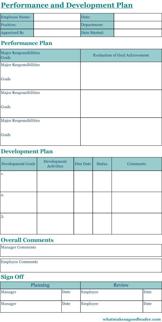 Performance Appraisal Form Personal development Pinterest