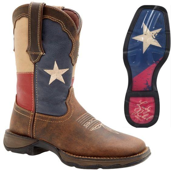 Durango Boots - Lady REBEL - Women's TEXAS Flag Leather Western ...