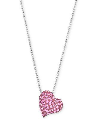 Swarovski Rhodium-Plated Rose Crystal Heart Pendant Necklace