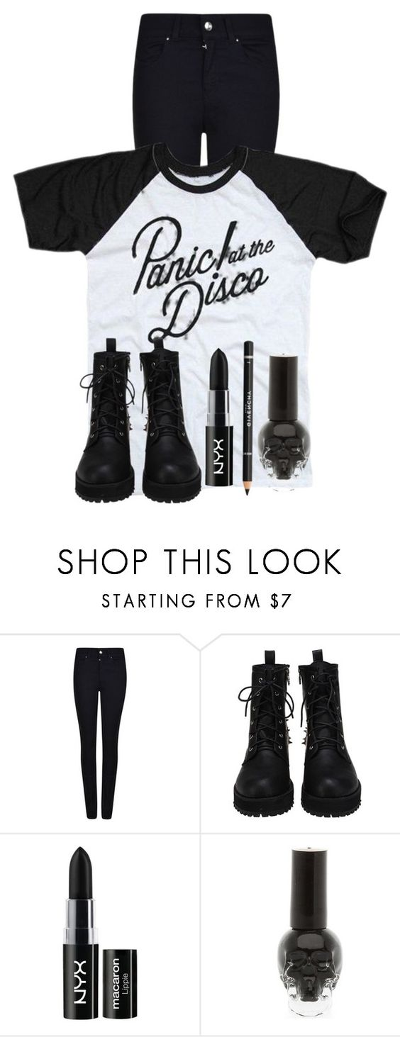 """GOING TO A PANIC! CONCERT TONIGHT"" by killjoy-sam ❤ liked on Polyvore featuring Armani Jeans, NYX and Givenchy"
