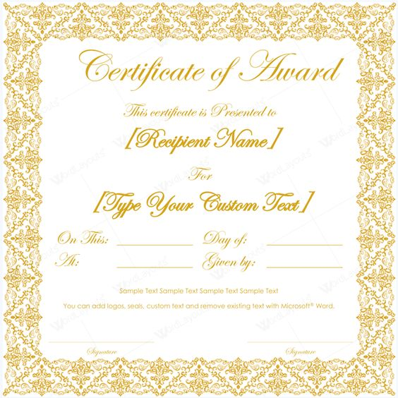 Award Certificate Template for Microsoft® Word Award Certificate - award certificate template microsoft word