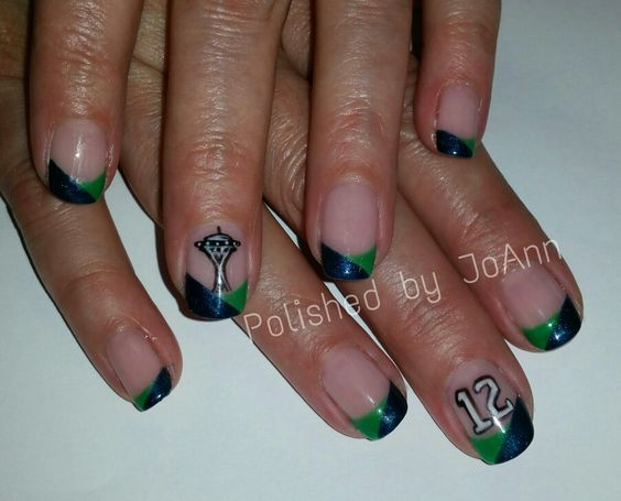 12th MANicure #seahawks #nailart