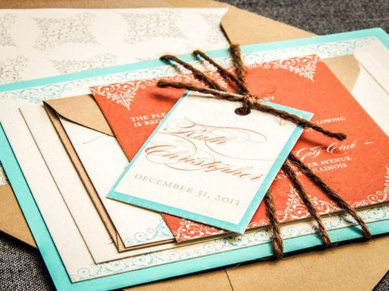 Beach Wedding Invitations Rustic Wedding Invitation Turquoise – Etsy Beach Wedding Invitations