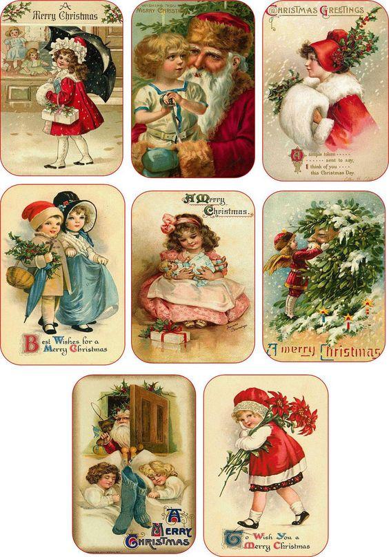 Christmas Vintage Child Santa Pictures on Cards Scrapbooking Crafts Set of 8 | eBay: