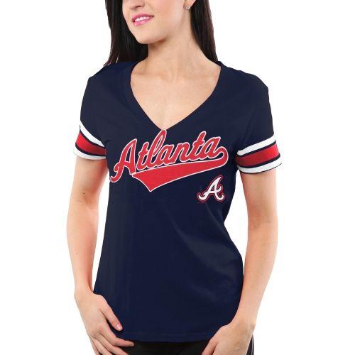 #Atlanta Braves Ladies AllStar Coop VNeck TShirt Navy Blue $24.95