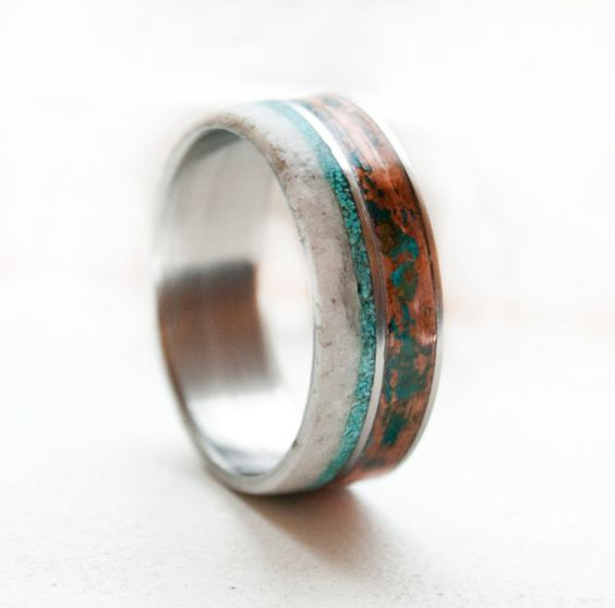 Antlers men wedding bands and wedding bands on pinterest for Mens turquoise wedding rings