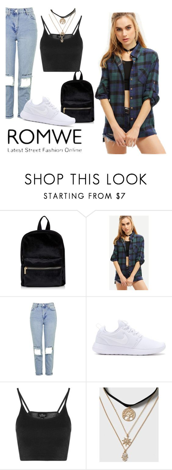 """""""ROMWE"""" by abudantia ❤ liked on Polyvore featuring Topshop and NIKE"""