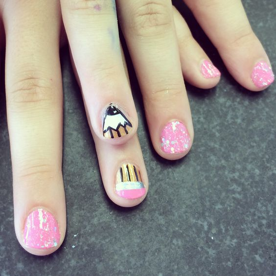 Back to school nail art design pencil fashion pinterest nail art nail art designs and Fashion style and nails facebook