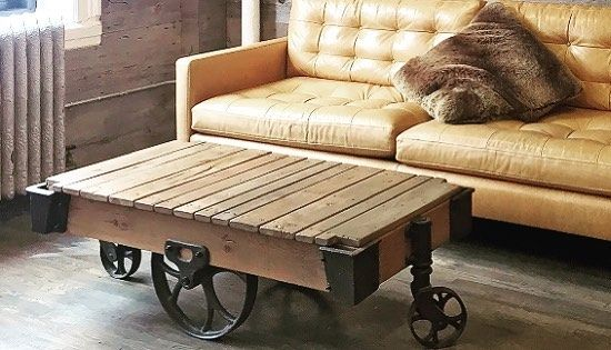 Industrial Vintage Style Coffee Table On Wheels Iron Structure