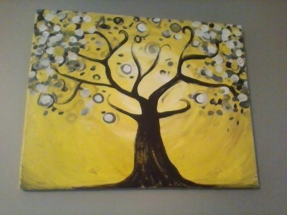 Yellow and Black Swirly Tree