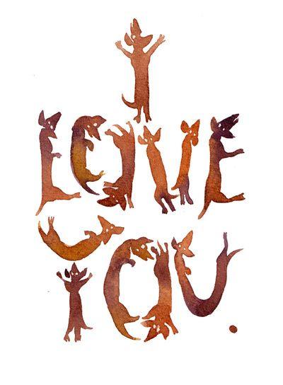 'I Love You' Sausage Dog Typography!