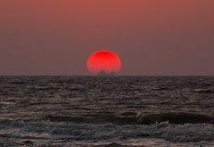 Wallpaper sunset, sea, surf, ship, sun, waves
