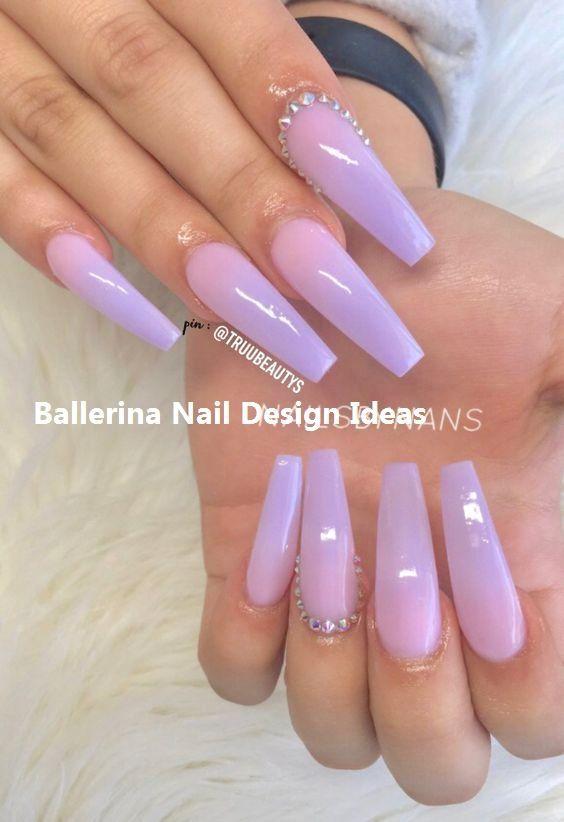 Trendy Ballerina Nail Art 2019 Ballerinanails Nailideas Purple Acrylic Nails Purple Ombre Nails Ballerina Nails