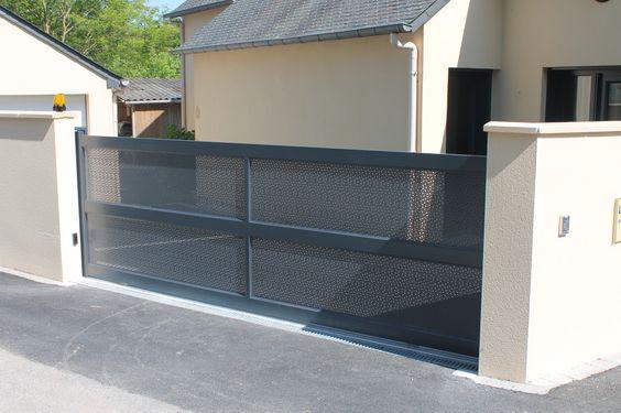 Portail aluminium semi ajour mod le br sil en t le for Portail entree propriete