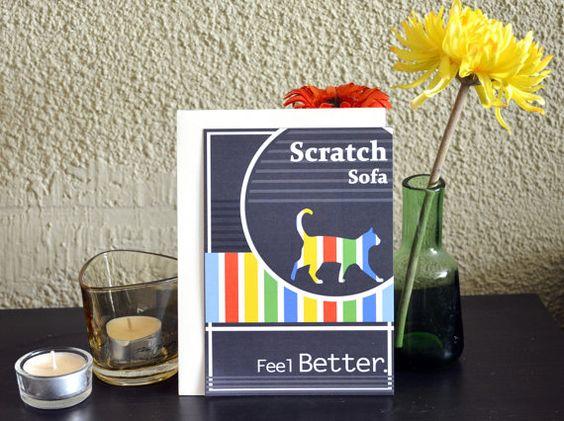 A Bad English Cat card - Scratch sofa feel better
