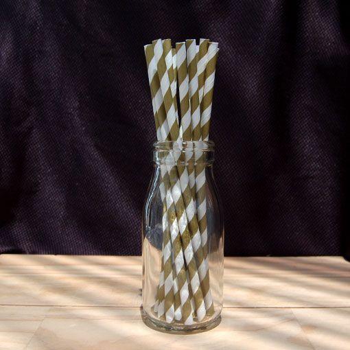 Vintage Paper Straws – Gold 25pcs