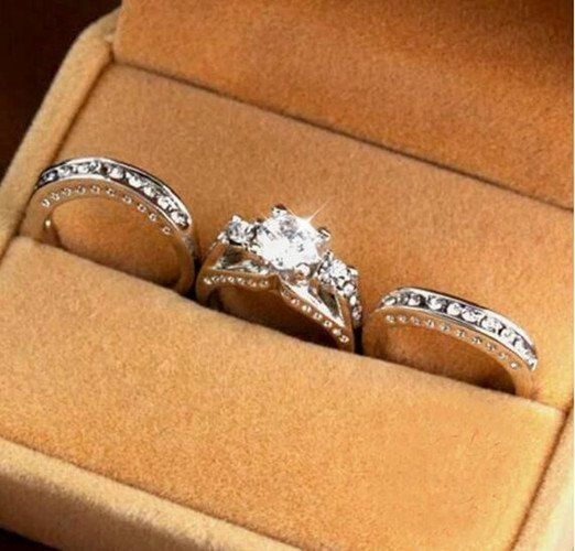 3pcs Set 4 25 Carat Inlaid Wedding Ring In White Gold Filled Gyuruk