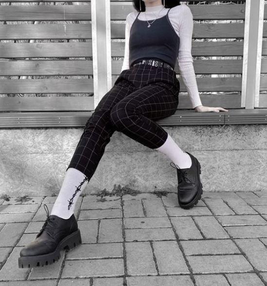 Polbuty Altercore Nefi Black Vegan Grunge Aesthetic Black Jeans Grunge