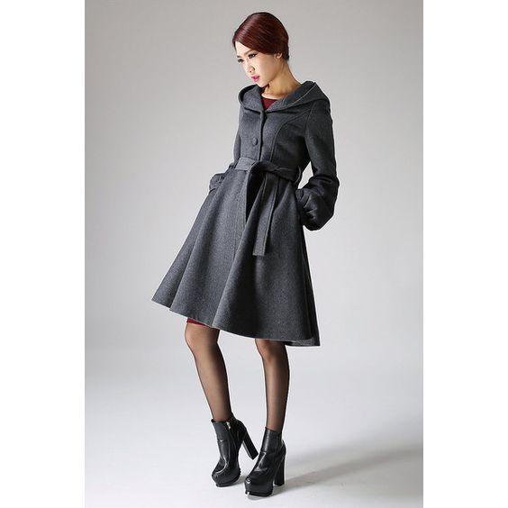 Hooded Swing Coat Winter Wool Gray Women a-Line Shape Midi Length Coat... ($219) ❤ liked on Polyvore featuring outerwear, coats, black, women's clothing, hooded coats, belted coat, black wool coat, women coats and grey wool coat