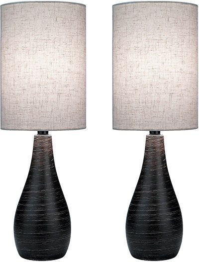 Lite Source LS-2997/2PK Quatro I Single Light Table Lamp with Linen Fabric Shade Brushed Dark Bronze Lamps Lamp Sets
