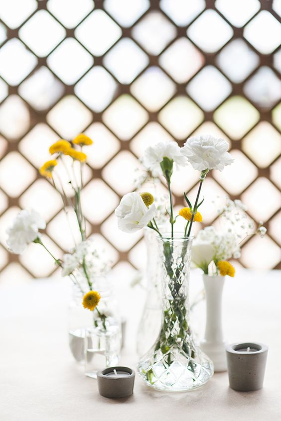 white and yellow - less is more | beautiful simple wedding decor