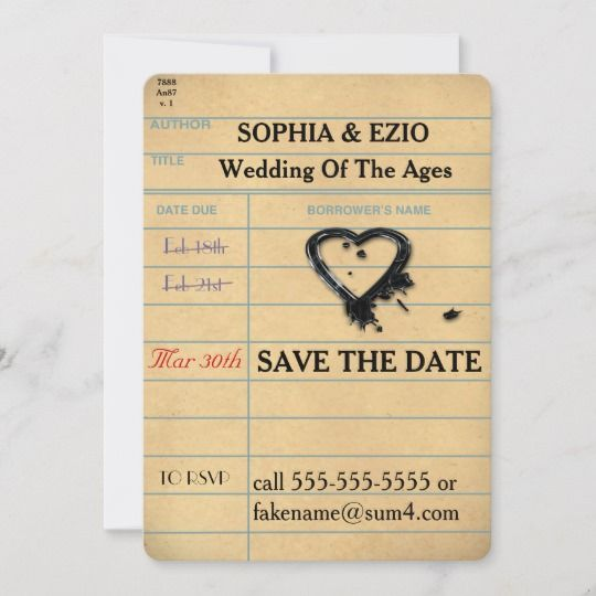 Save The Date Library Card Zazzle Com Save The Date Save The Date Cards Library Card