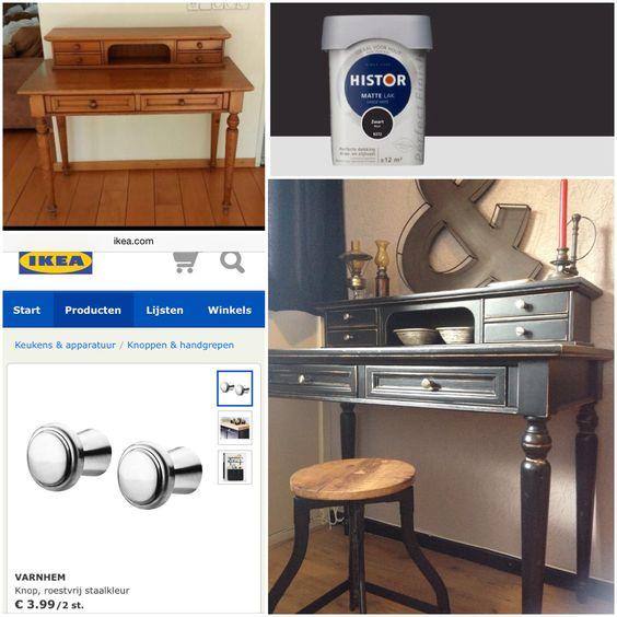 Before & after! #DIY, #doehetzelf, #marktplaats, #ikea, #histor, #grenen, #schuren, #opknapper, #vintage, #industrieel, #home, #styling, #wonen, #vtwonen, #creatief, #beforeandafter, #diyoooo, #doityourself, #secretaire, #desk, #decoration, #decor, #industrial, #office, #refurbish